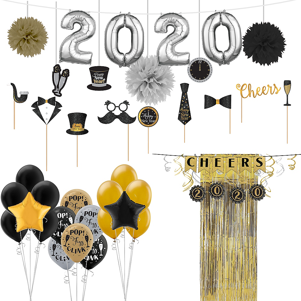 Super Black, Gold & Silver New Year's Decorating Kit Image #1