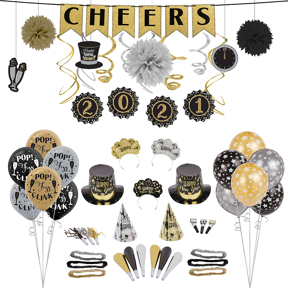 Black, Gold & Silver New Year's Eve Accessory & Decor Kit ...