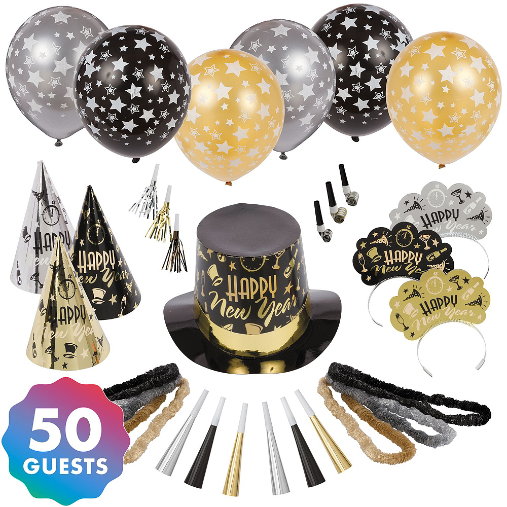 Black, Gold & Silver New Year's Eve Accessory & Decor Kit for 50 Guests Image #2