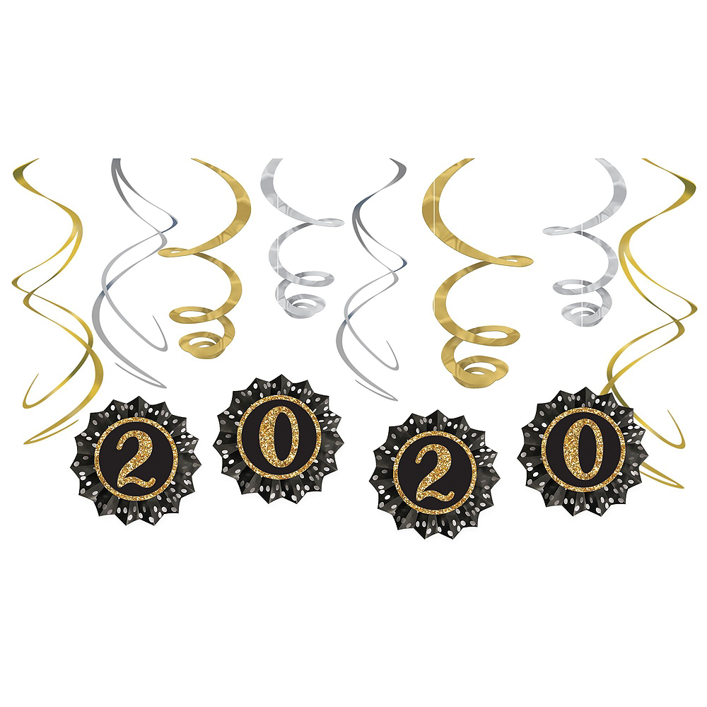 Black, Gold & Silver New Year's Eve Accessory & Decor Kit for 50 Guests Image #4