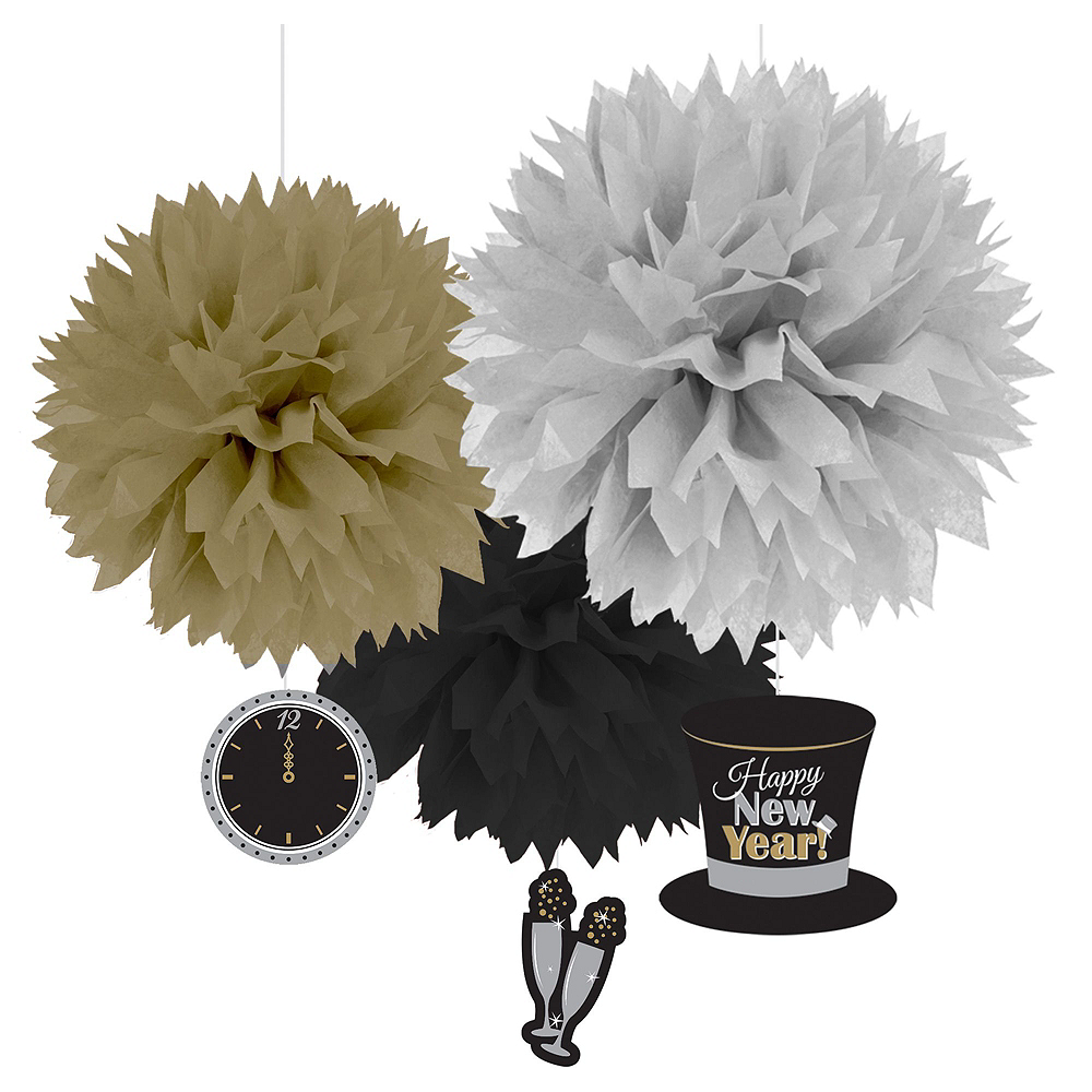 Black, Gold & Silver New Year's Eve Accessory & Decor Kit for 50 Guests Image #6