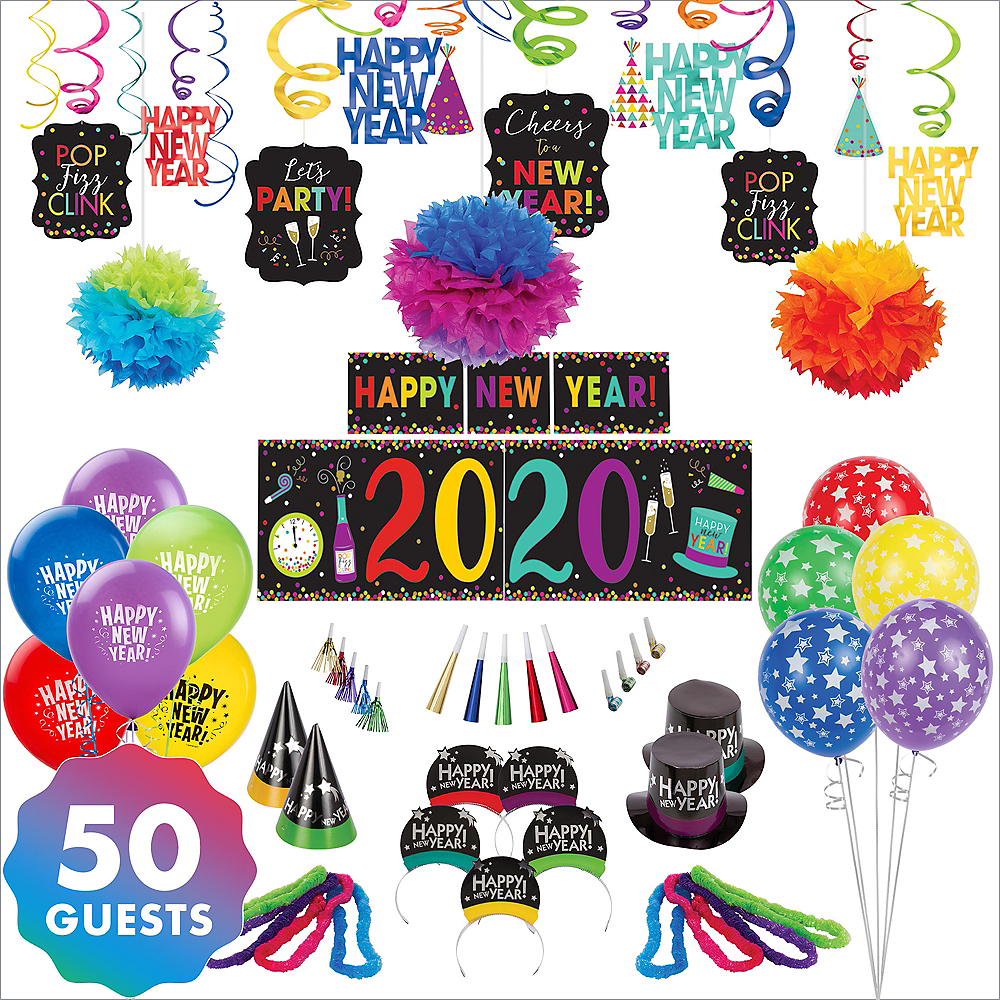 Colorful New Year's Eve Accessory & Decor Kit for 50 Guests Image #1