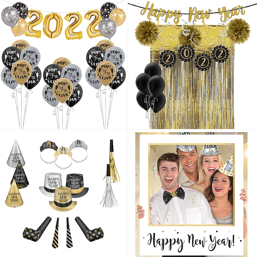 Super Black, Gold & Silver New Year's Eve Accessory & Decor Kit for 100 Guests Image #1