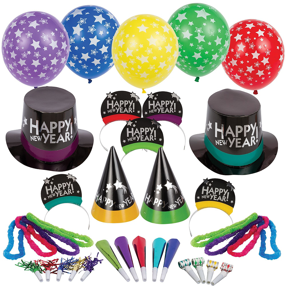 Super Colorful New Year's Eve Accessory & Decor Kit for 100 Guests Image #2