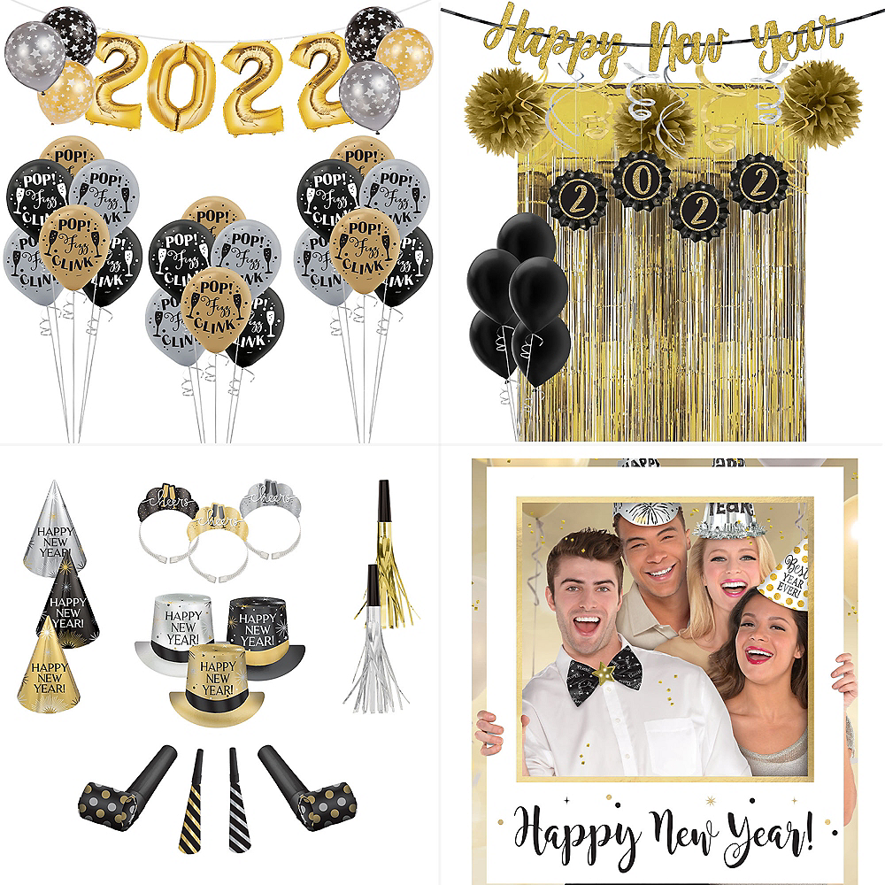 Super Black, Gold & Silver New Year's Eve Accessory & Decor Kit for 200 Guests Image #1