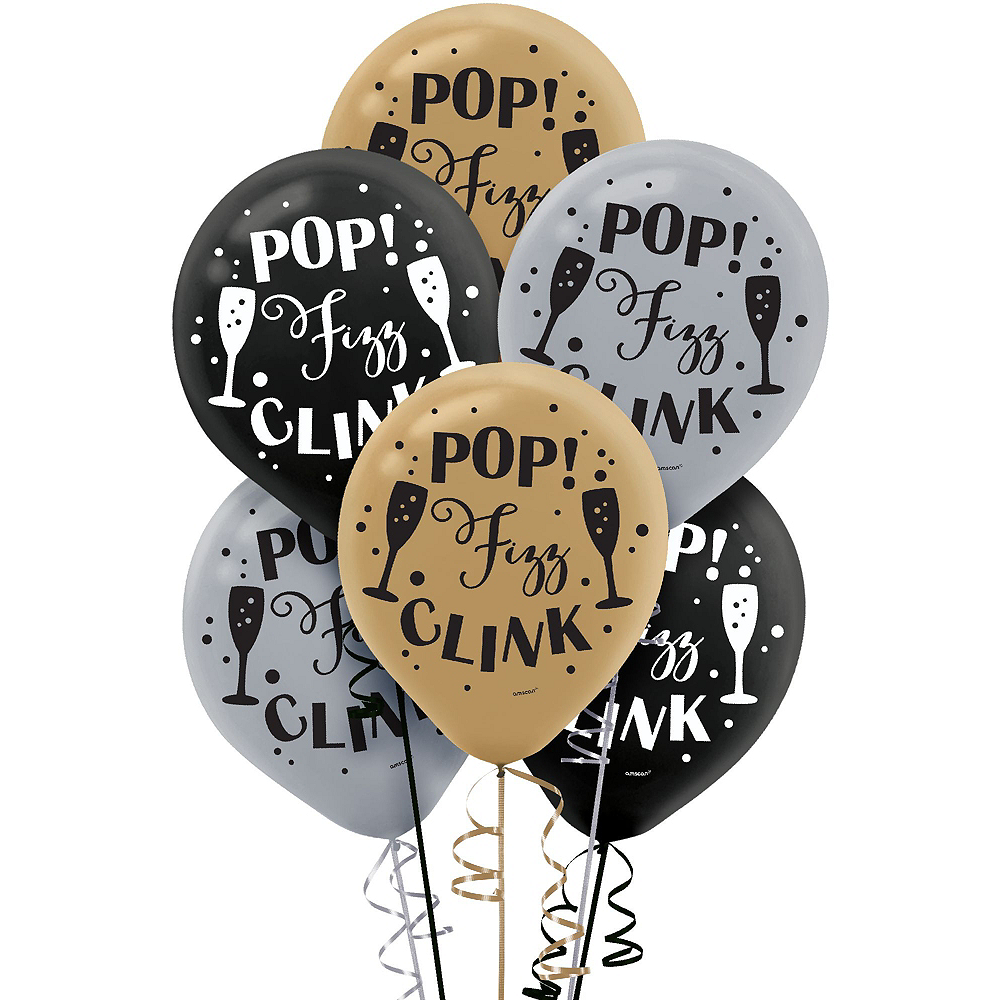 Super Black, Gold & Silver New Year's Eve Accessory & Decor Kit for 200 Guests Image #3
