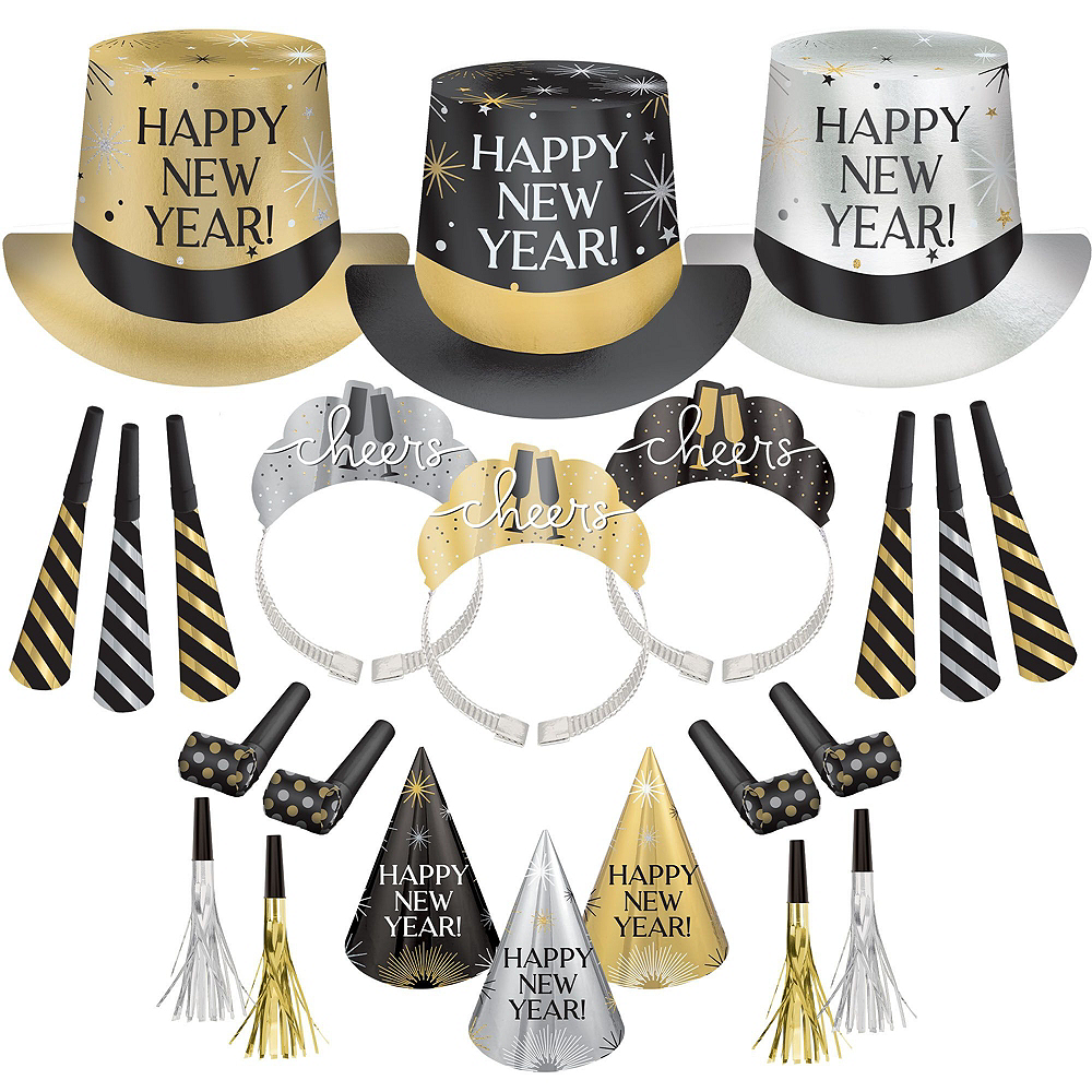Super Black, Gold & Silver New Year's Eve Accessory & Decor Kit for 200 Guests Image #6