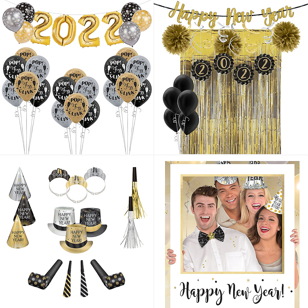 Super Black, Gold & Silver New Year's Eve Accessory & Decor Kit for 300 Guests Image #1