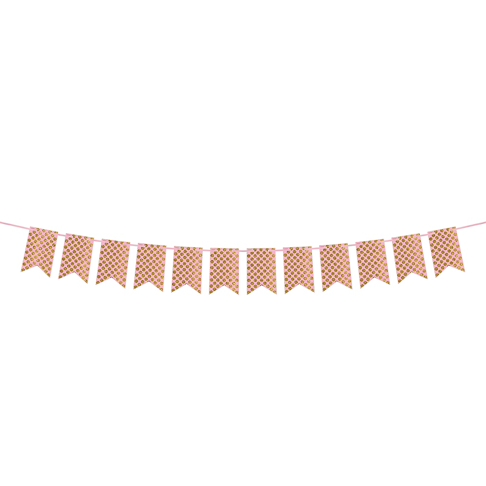 Create Your Own Glitter Gold & Pink Polka Dots Pennant Banner Image #1