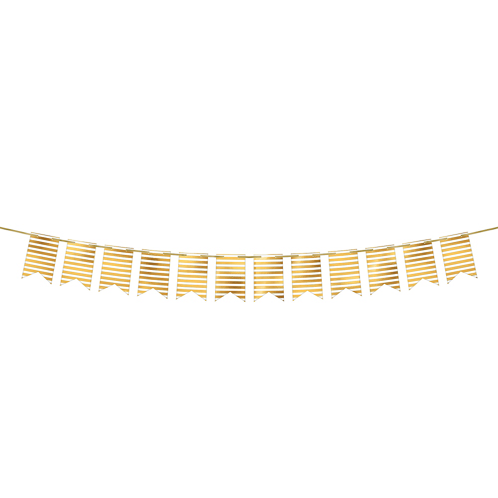 Create Your Own Gold & White Striped Pennant Banner Image #1