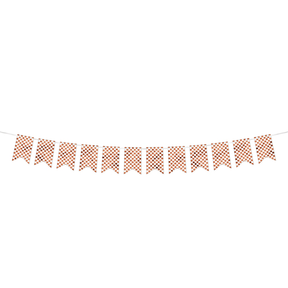 Create Your Own Rose Gold & White Polka Dots Pennant Banner Image #1
