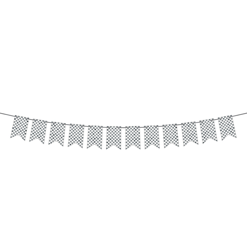 Create Your Own Silver & White Polka Dots Pennant Banner Image #1