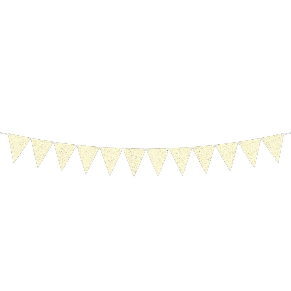 Create Your Own Glitter White Pennant Banner Image #1