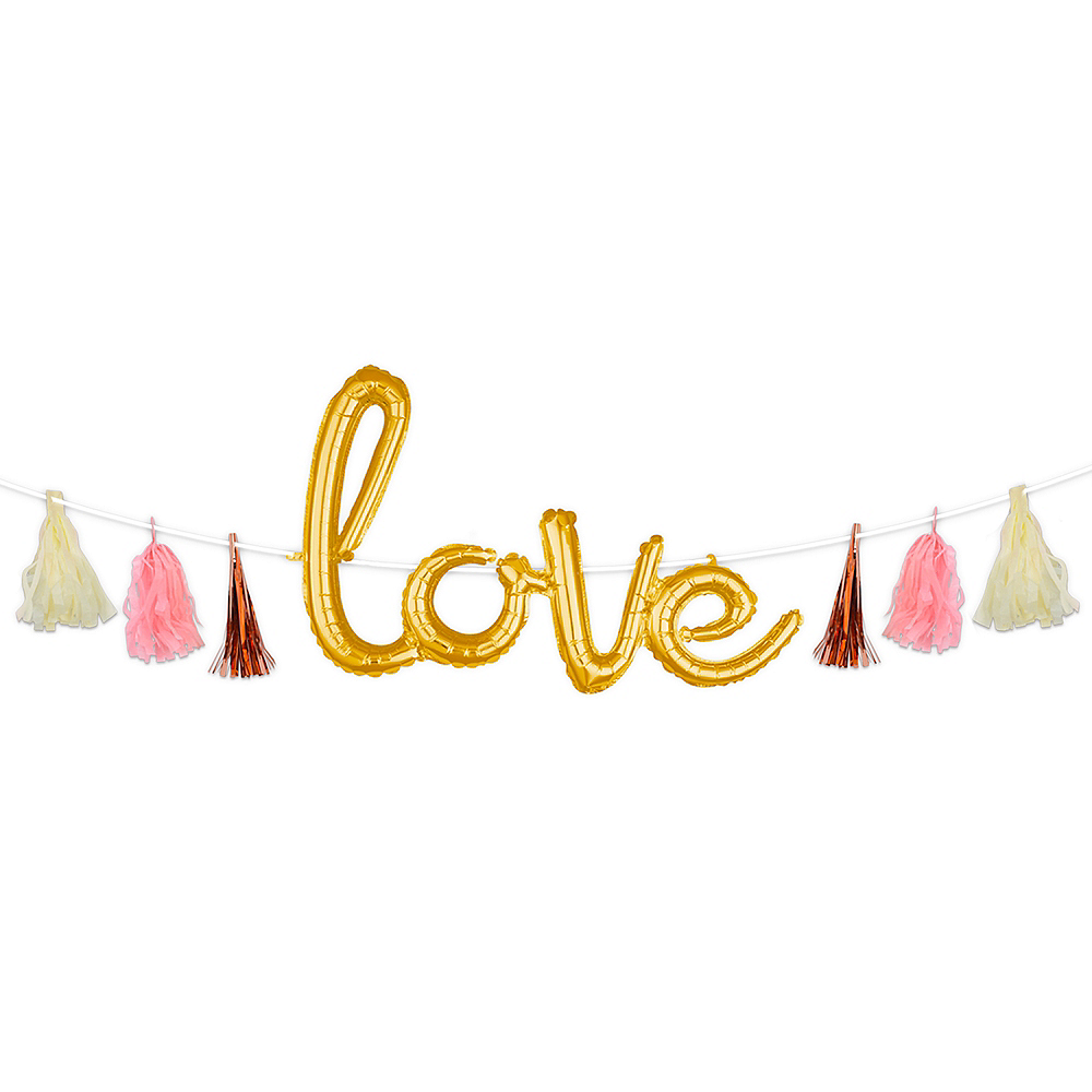 Air-Filled Rose Gold & Pink Love Cursive Letter Balloon Garland Kit Image #1