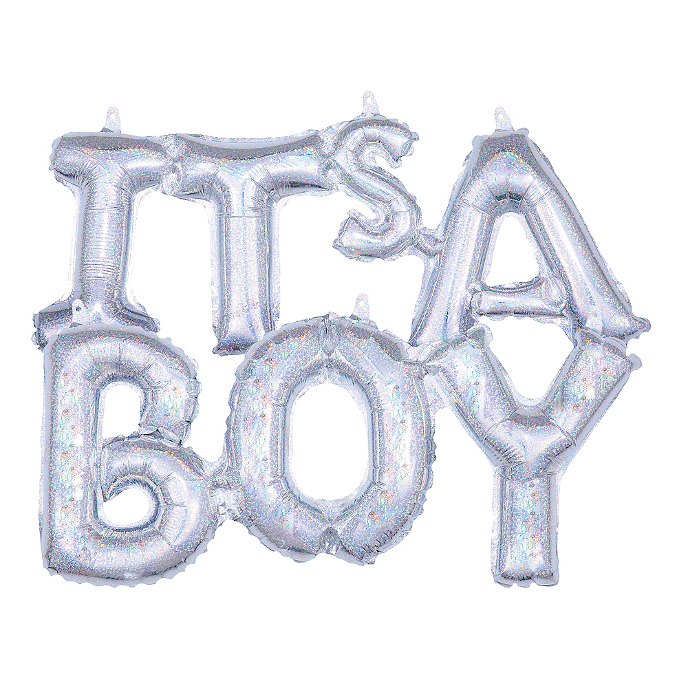 Air-Filled Prismatic Silver It's A Boy Letter Balloon Banners 2ct Image #1