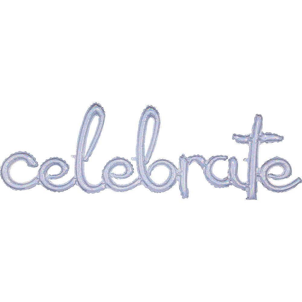 Air-Filled Prismatic Silver Celebrate Cursive Letter Balloon Banner Image #1