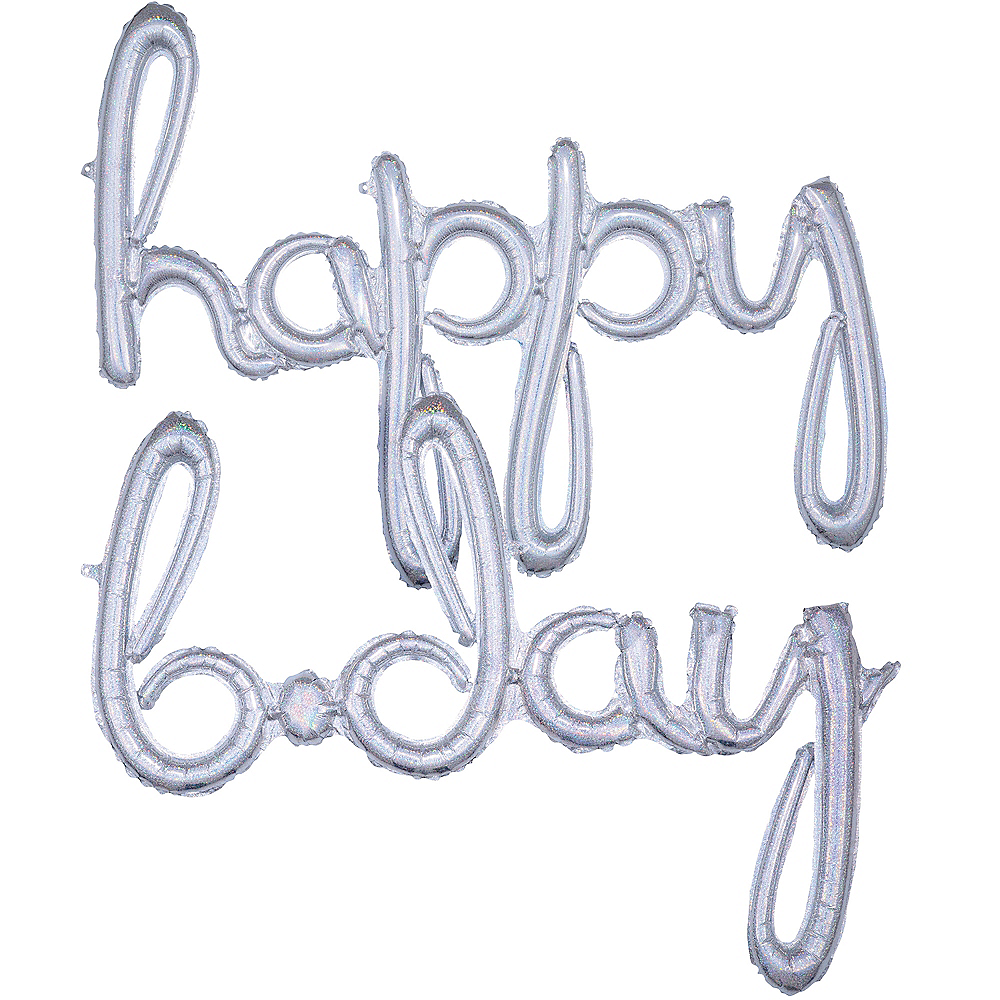Air-Filled Prismatic Happy B-Day Cursive Letter Balloon Banners 2ct Image #1
