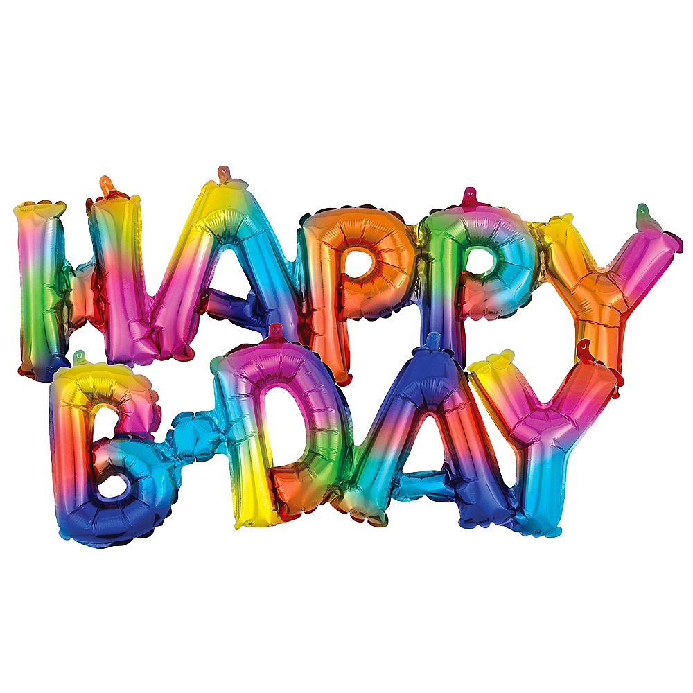 Air-Filled Rainbow Splash Happy B-Day Cursive Letter Balloon Banners 2ct Image #1