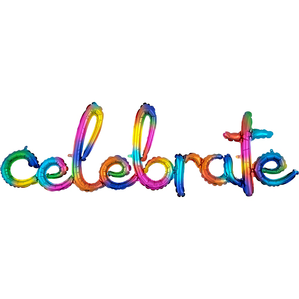 Air-Filled Rainbow Splash Celebrate Cursive Letter Balloon Banner Image #1