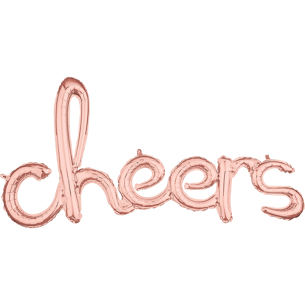 Air-Filled Rose Gold Cheers Cursive Letter Balloon Banner Image #1