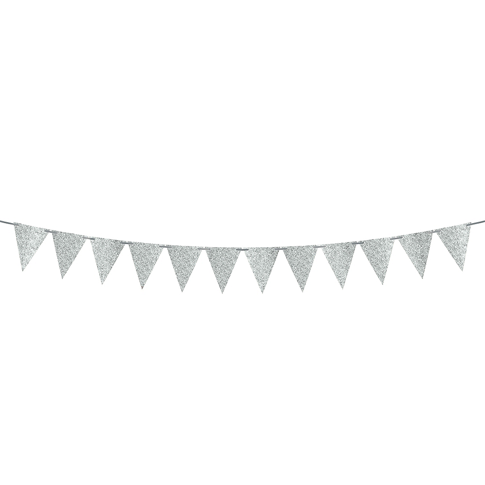 Mini Create Your Own Glitter Silver Pennant Banner Image #1