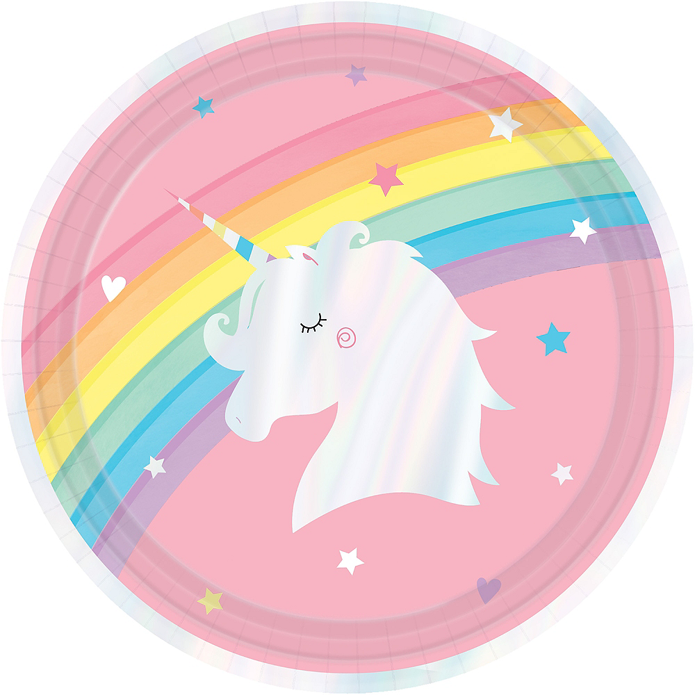 Iridescent Magical Rainbow Unicorn Lunch Plates 8ct Image #1