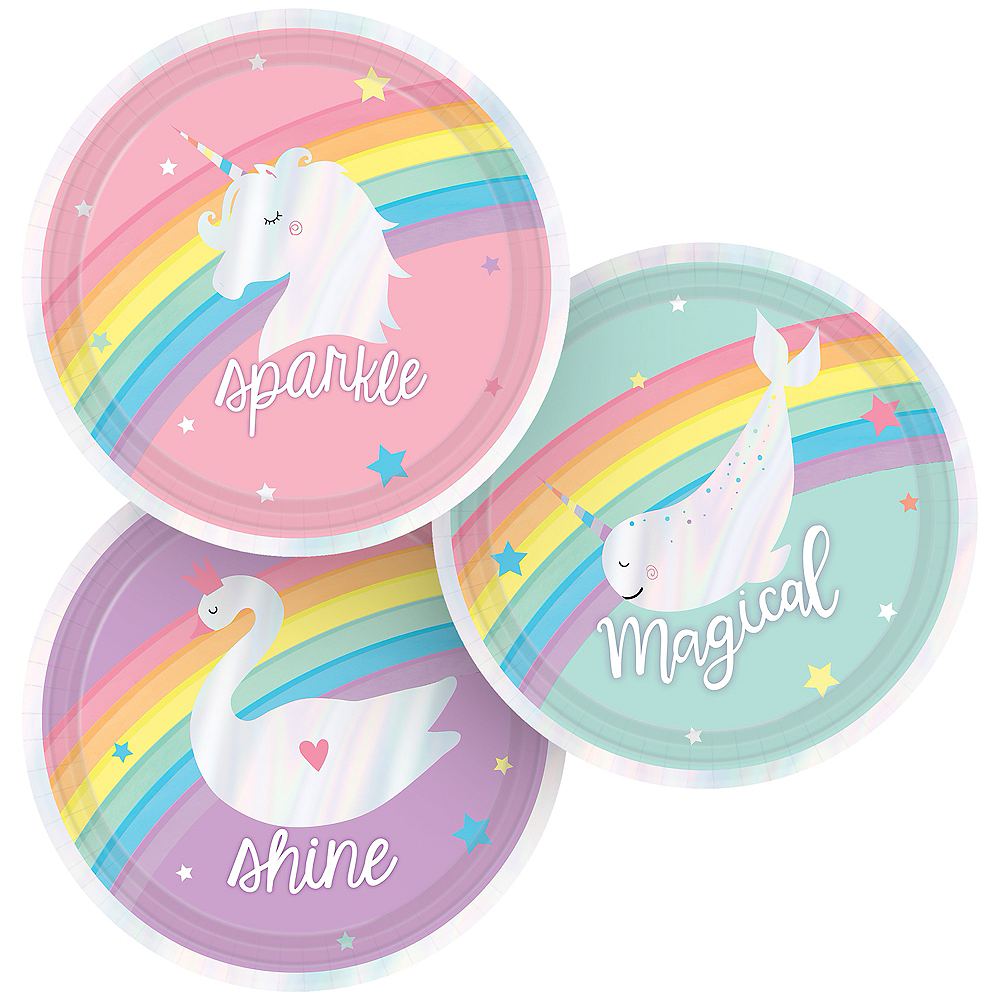 Iridescent Magical Rainbow Dessert Plates 8ct Image #1