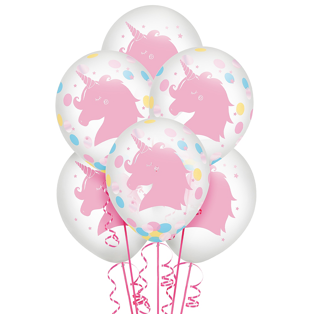 Magical Rainbow Unicorn Confetti Balloons 6ct Image #1