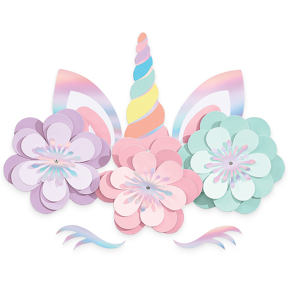 Magical Rainbow Unicorn Floral Cutouts 8ct Image #1