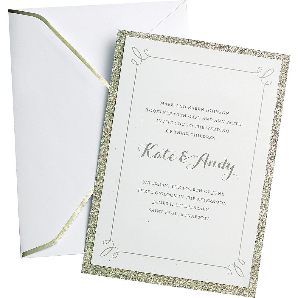Glitter Silver Wedding Invitations 25ct Image #1