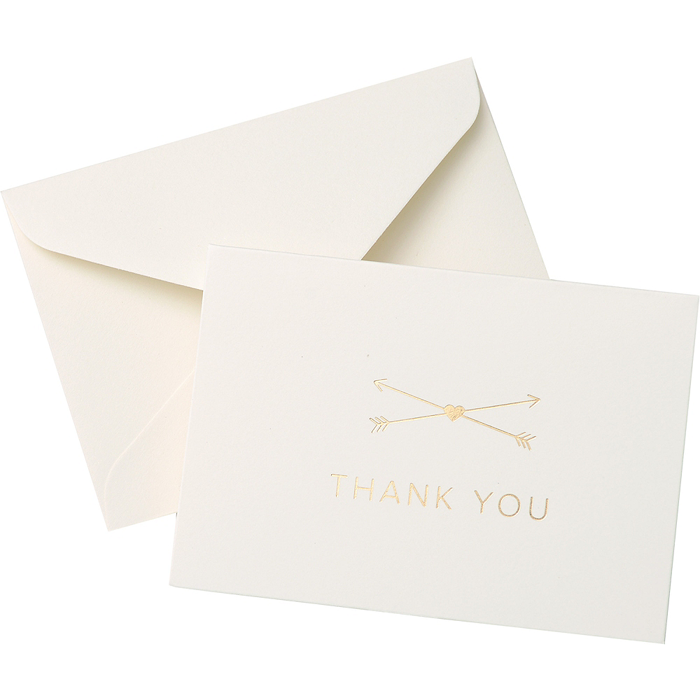 Gold Foil Crossed Arrows Thank You Notes 50ct Image #1