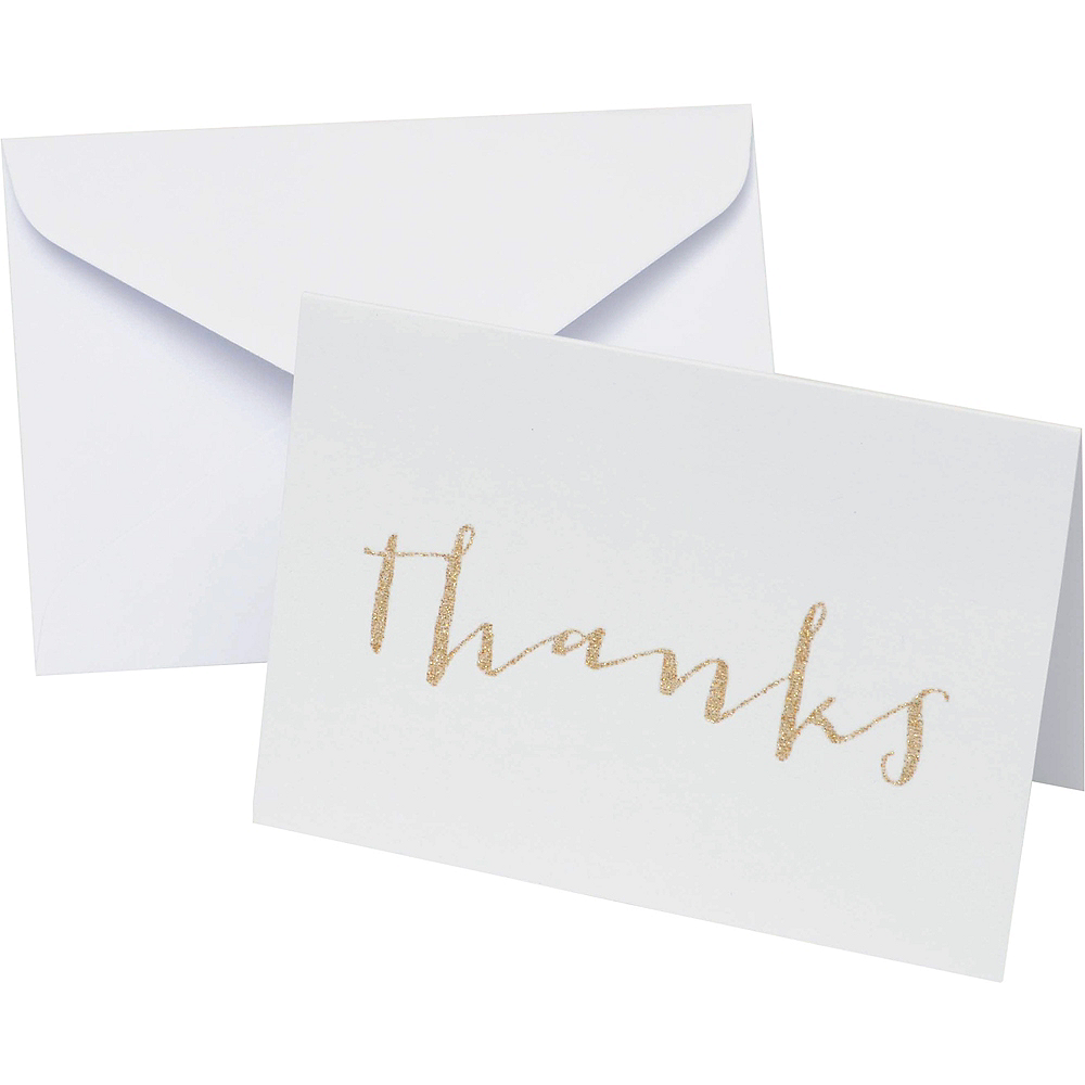 Glitter Gold Thank You Notes 50ct Image #1