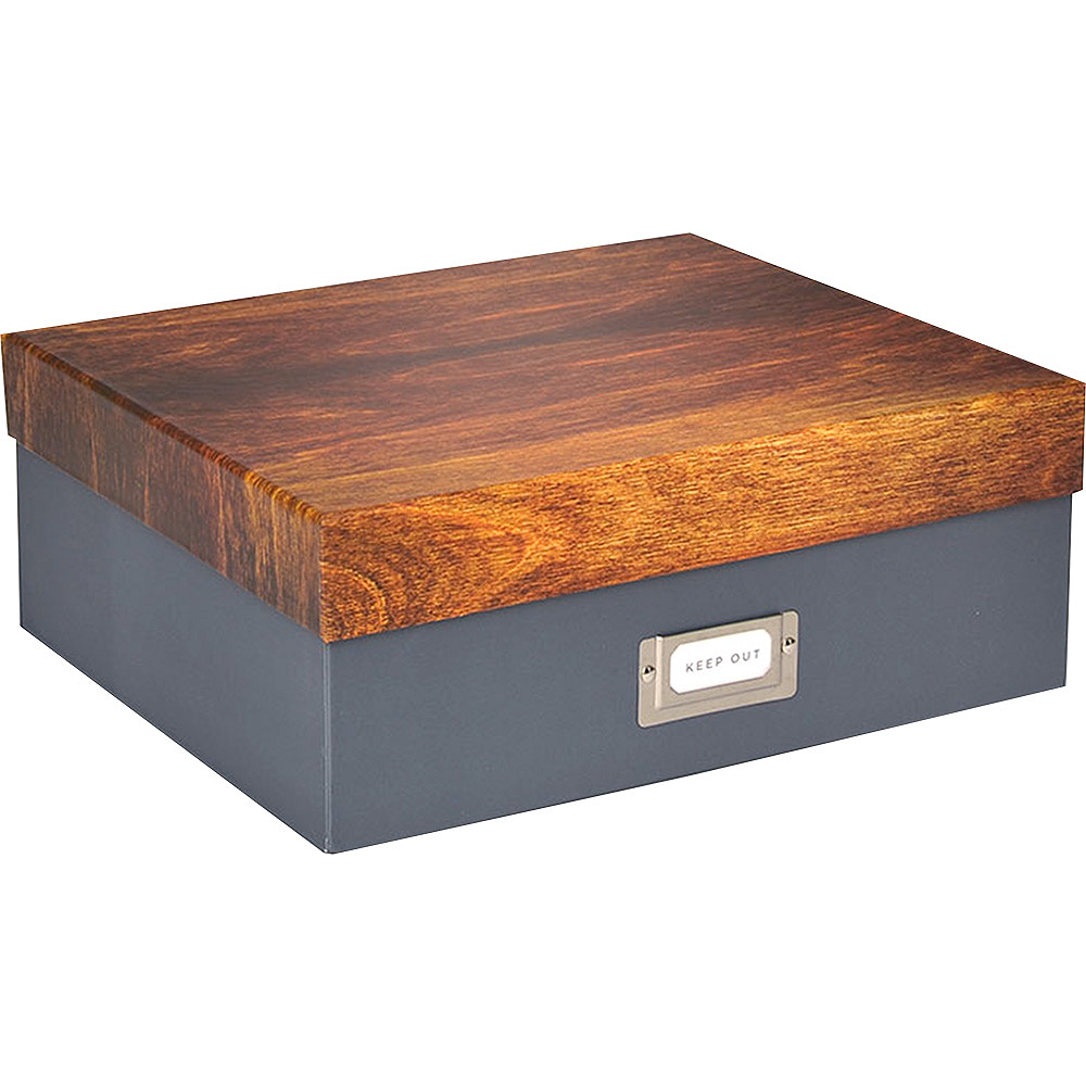 Gray & Woodgrain Storage Box Image #1