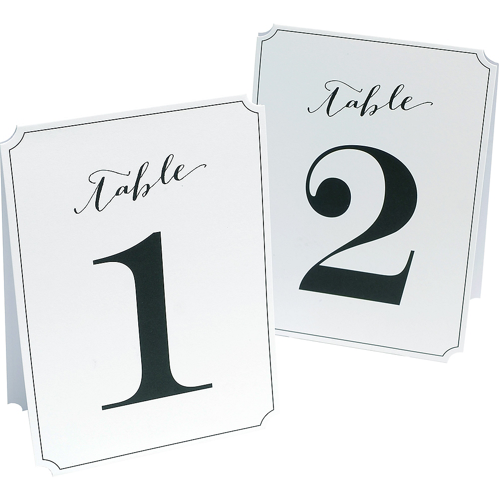 Black & White Tented Table Numbers 1-12 Image #1