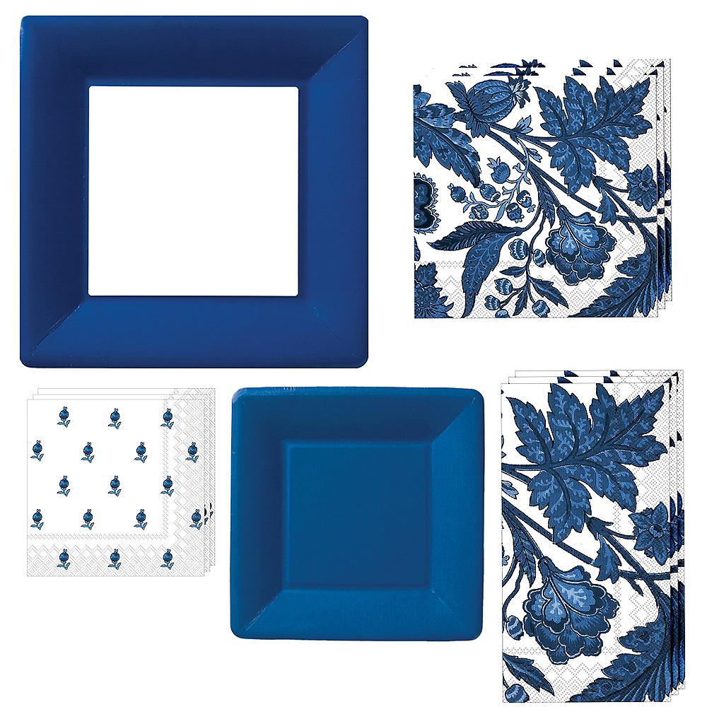 Blue Floral Tableware Kit for 16 Guests Image #1