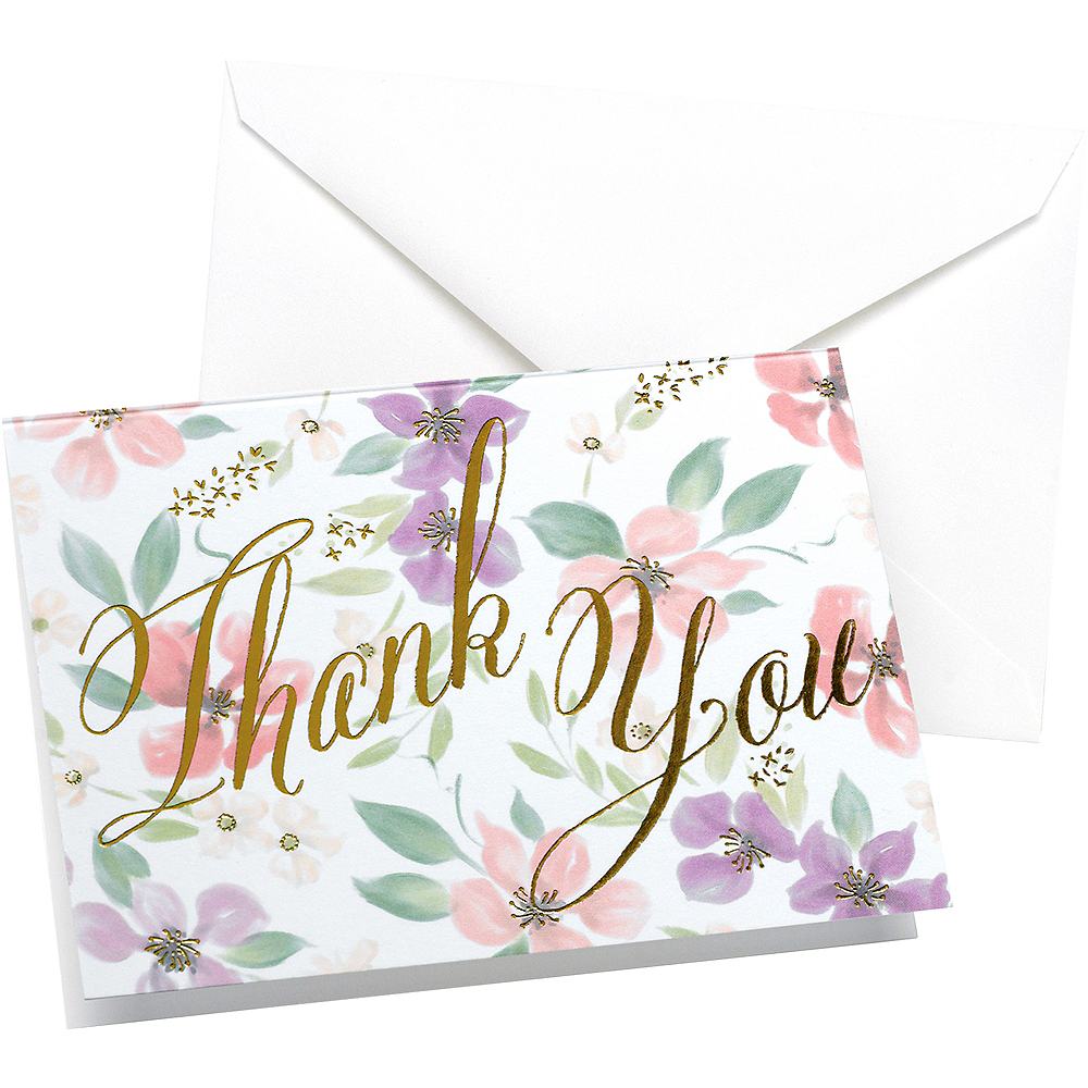 Watercolor Floral Thank You Notes 50ct Image #1