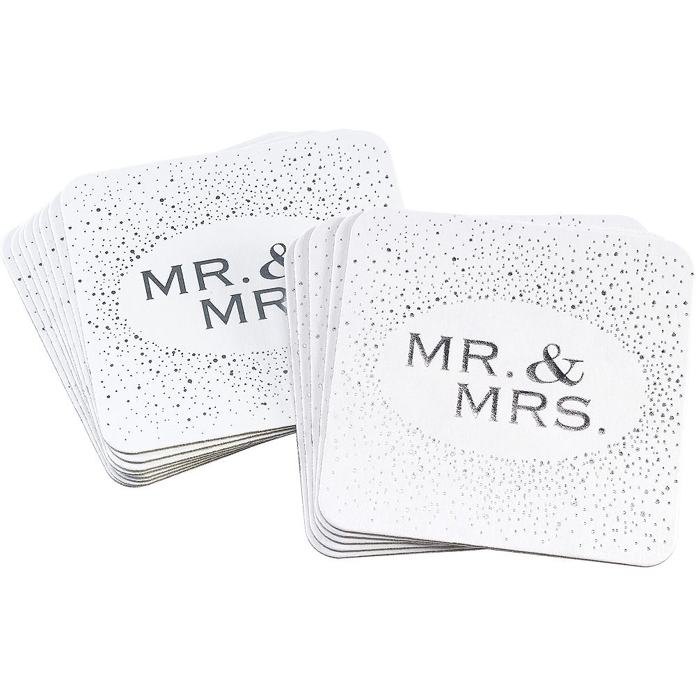 White & Silver Wedding Coasters 25ct Image #1