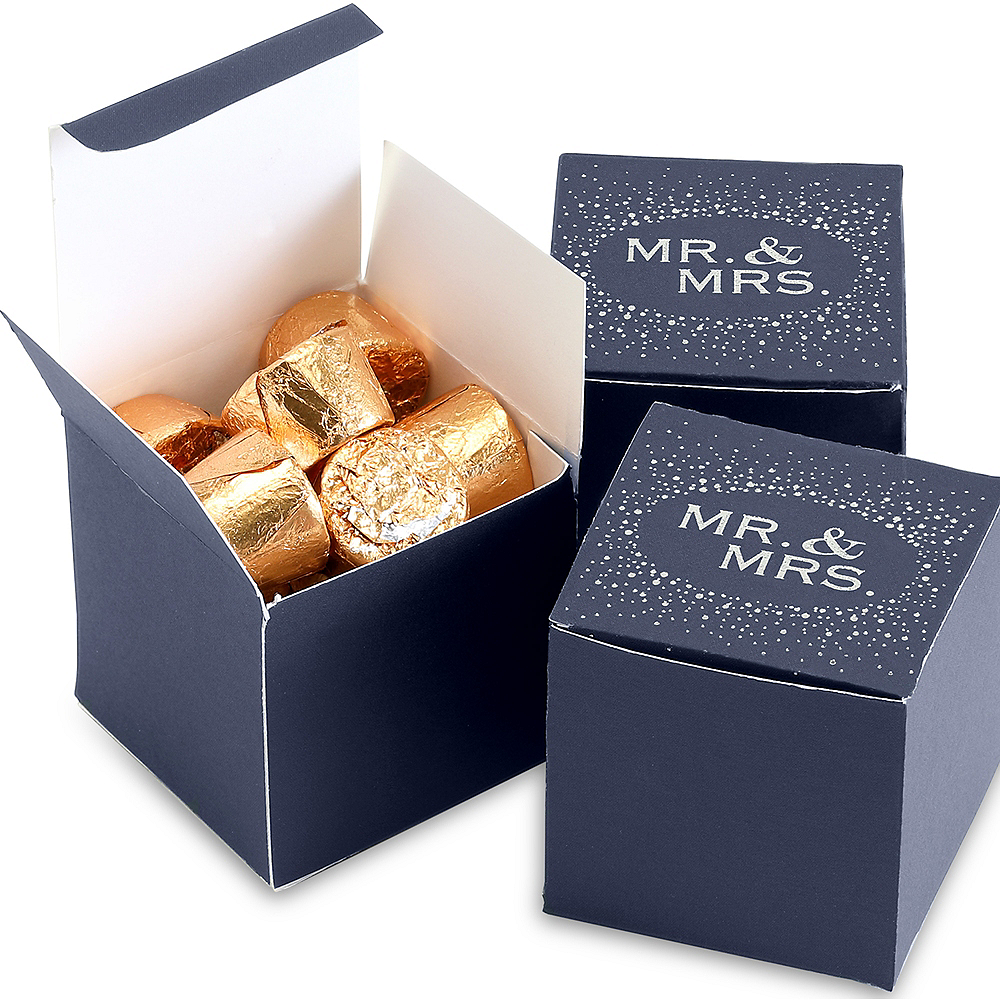 Navy Silver Treat Boxes 25ct