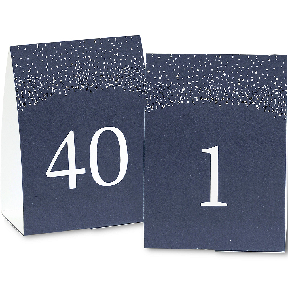 Navy & Silver Tented Table Numbers 1-40 Image #1