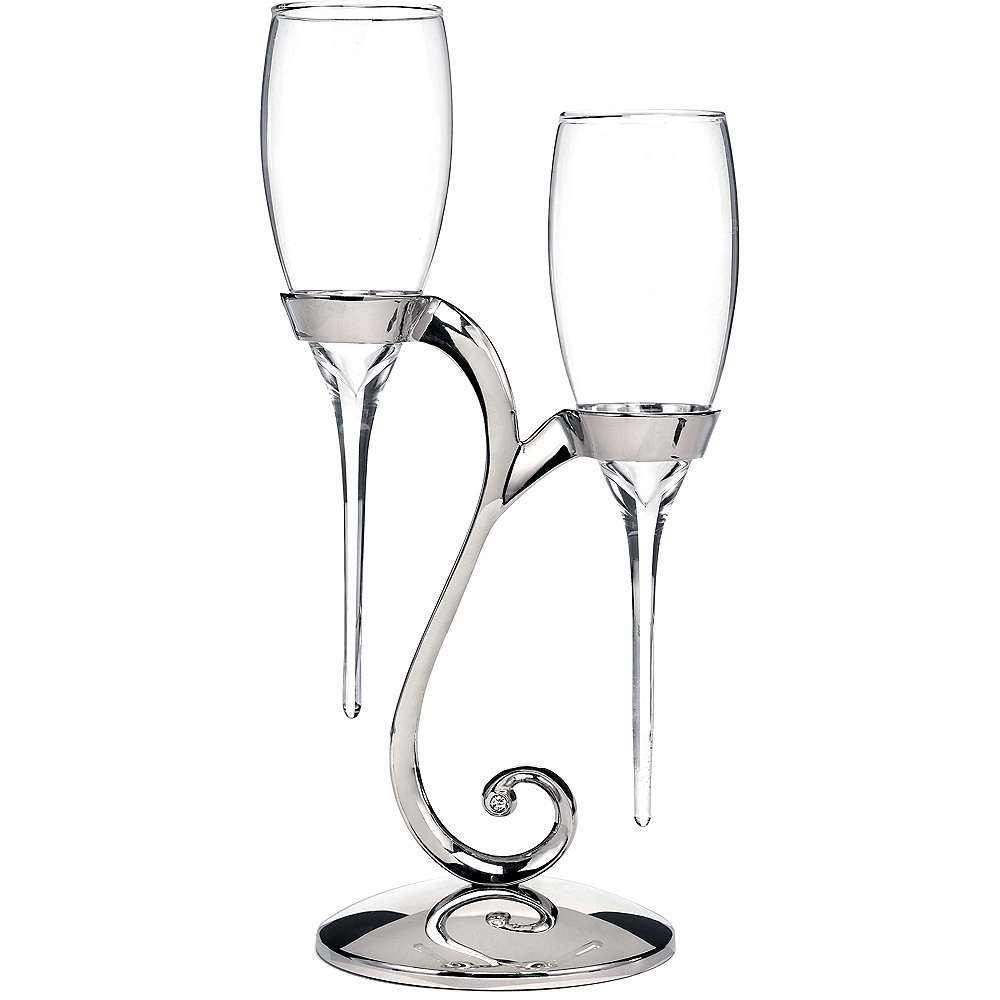 Raindrop Champagne Flutes with Swirl Stand Image #1
