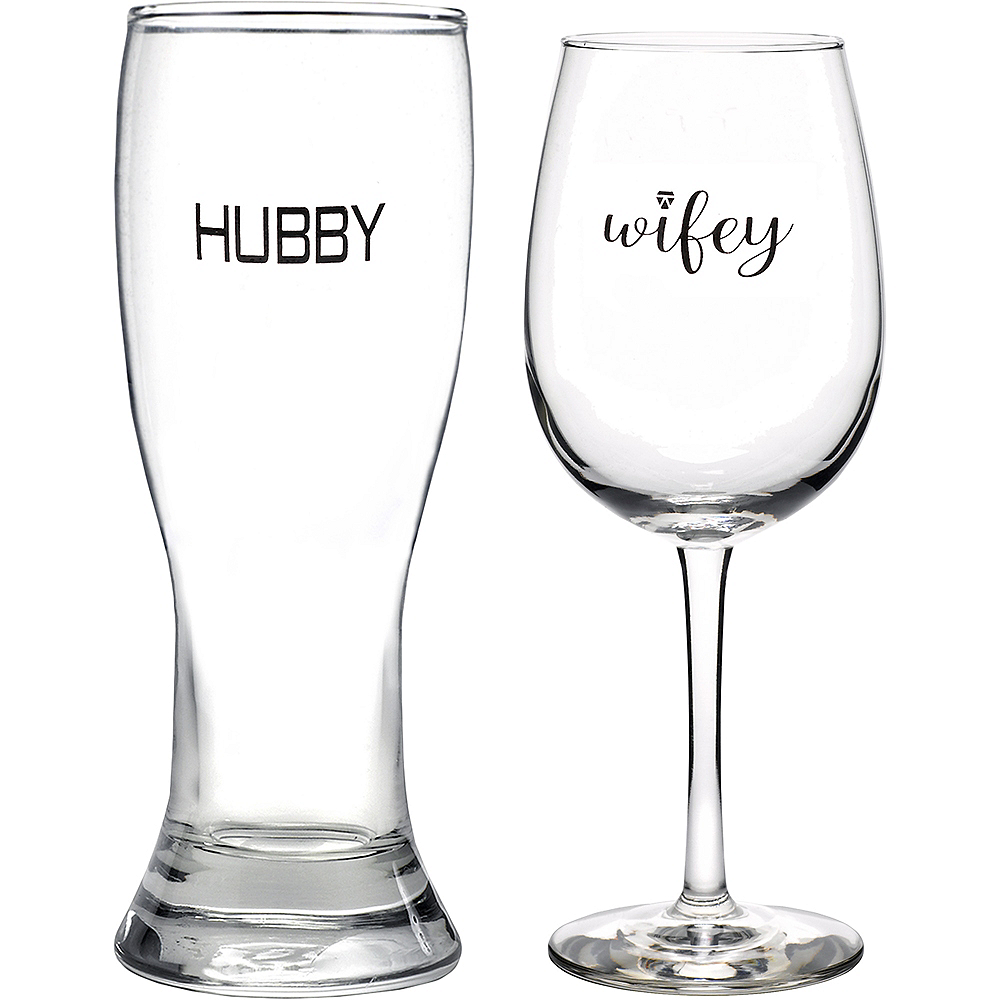 Hubby & Wifey Glass Set 2ct Image #1