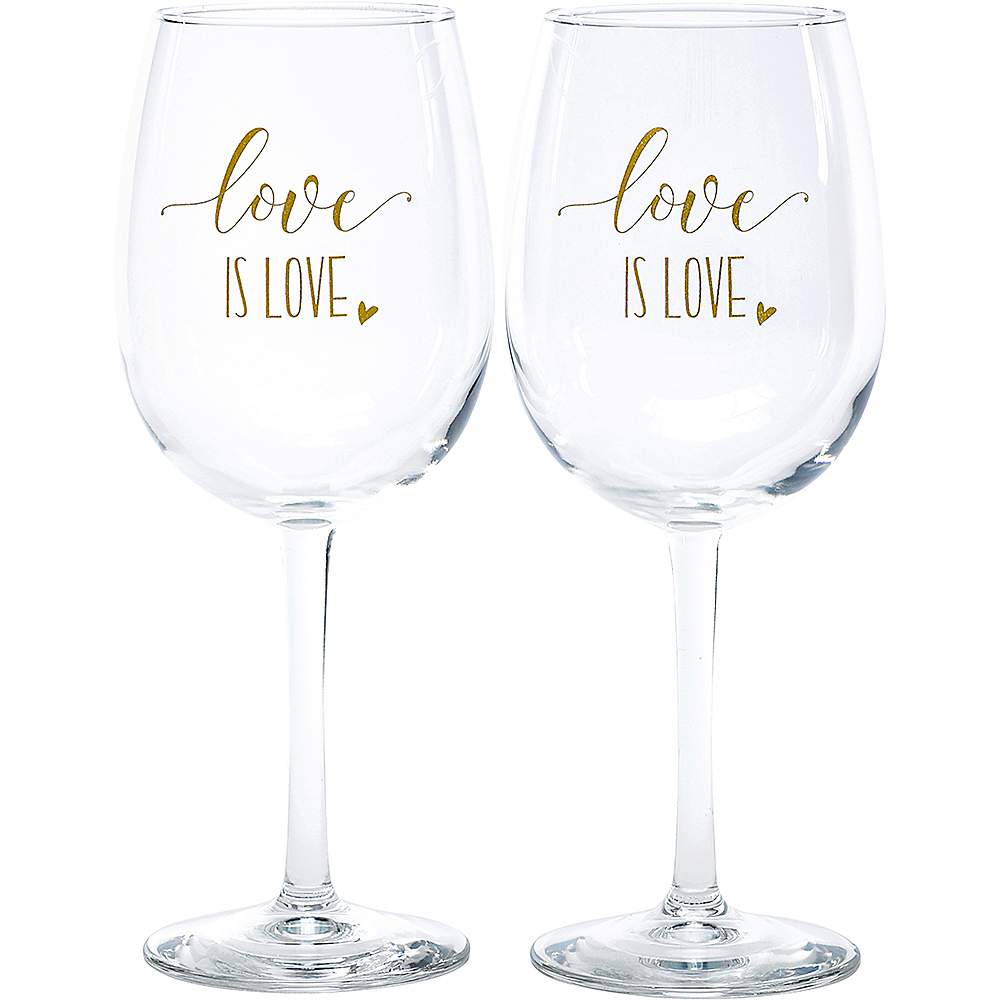 Love Is Love Wine Glasses 2ct Image #1