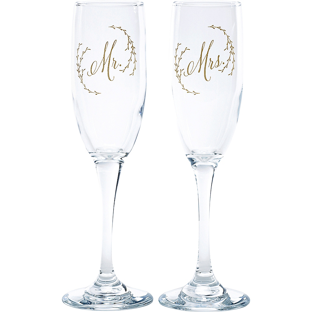 Ethereal Floral Champagne Flutes 2ct Image #1