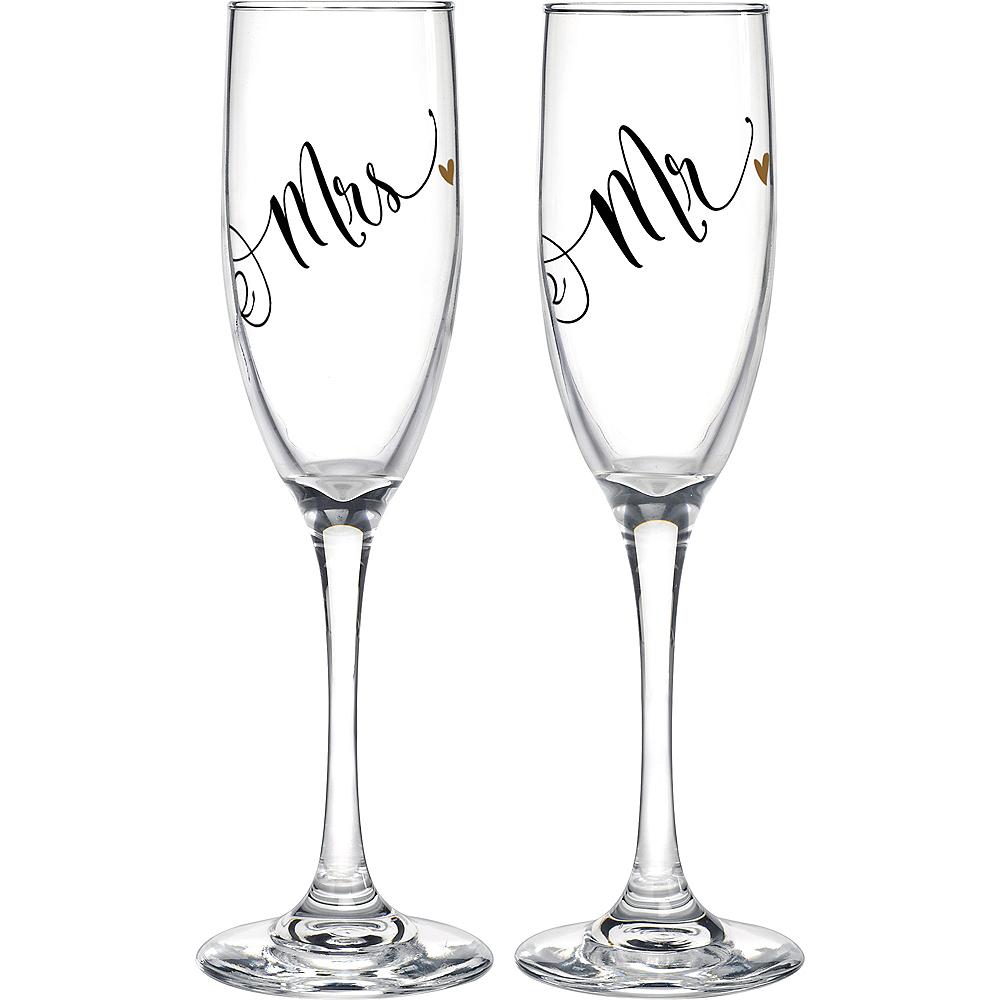 Black & Gold Mr. & Mrs. Champagne Flutes 2ct Image #1