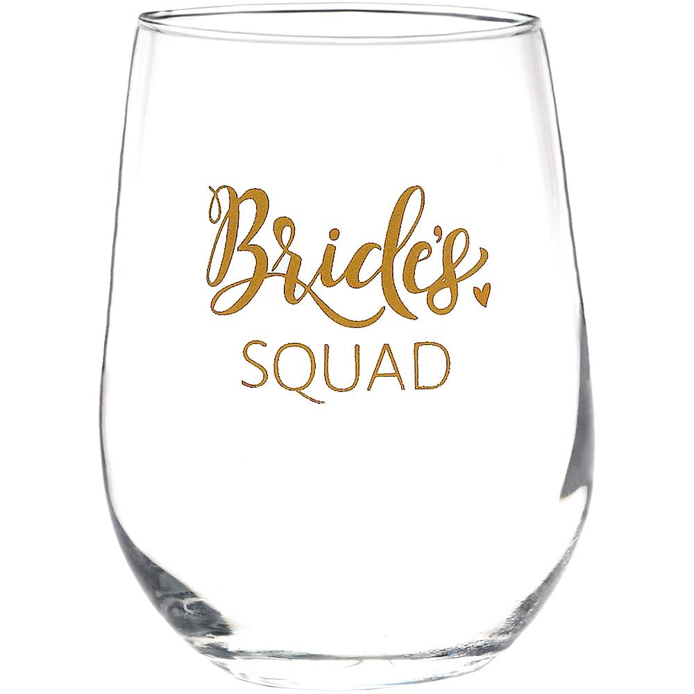 Rose Gold Bride's Squad Stemless Wine Glass Image #1