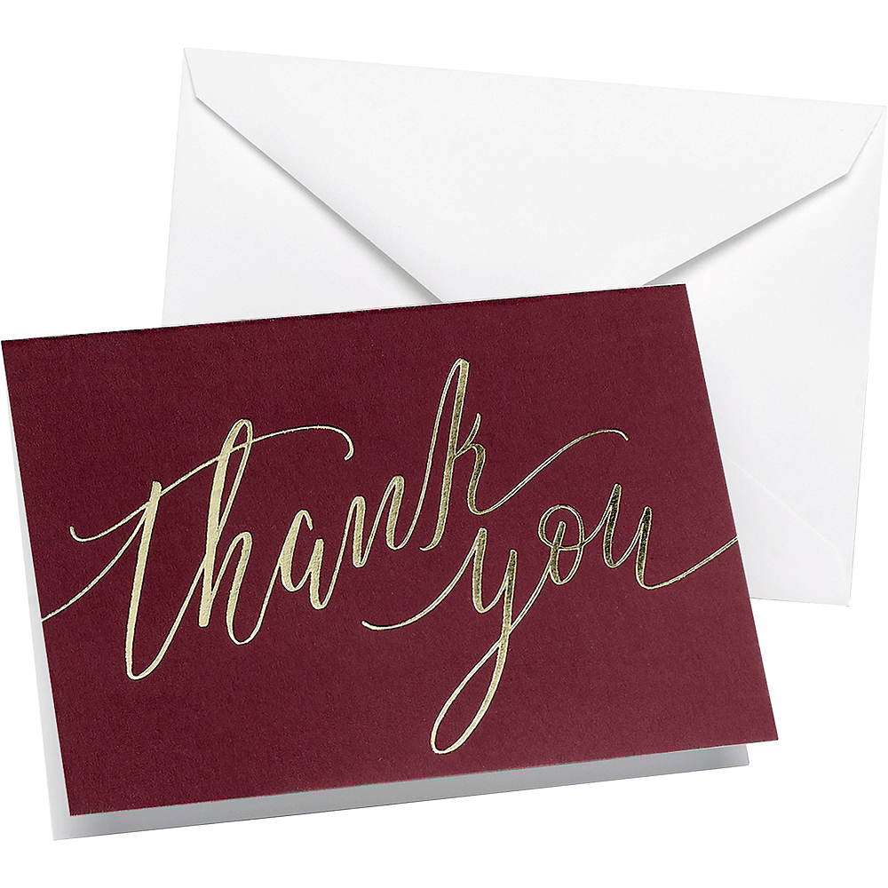 Burgundy Thank You Notes 50ct Image #1
