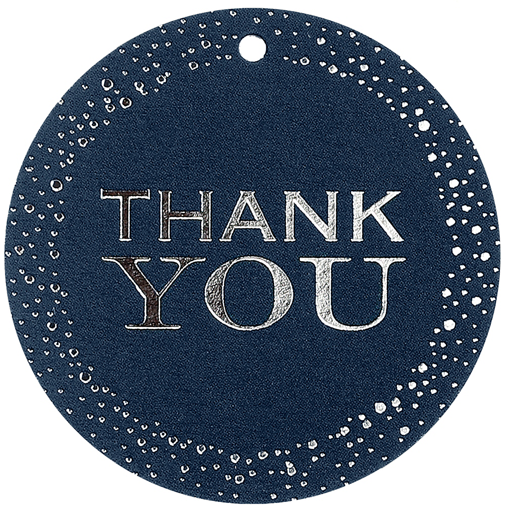 Navy & Silver Thank You Tags 25ct Image #2