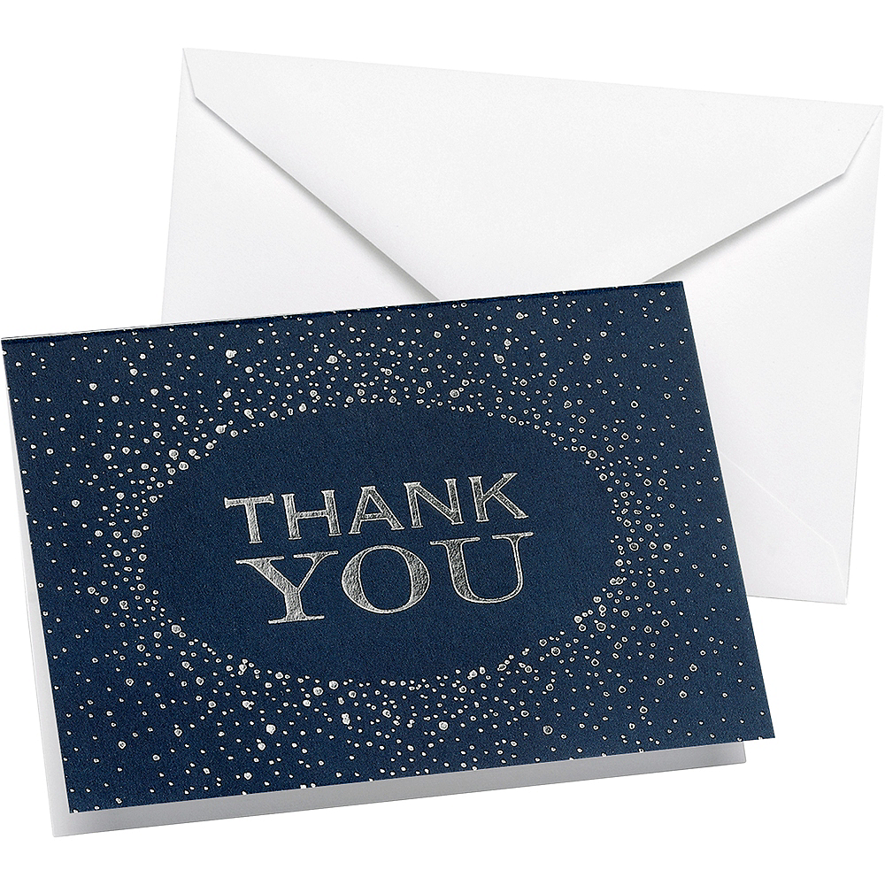 Navy & Silver Thank You Notes 50ct Image #1