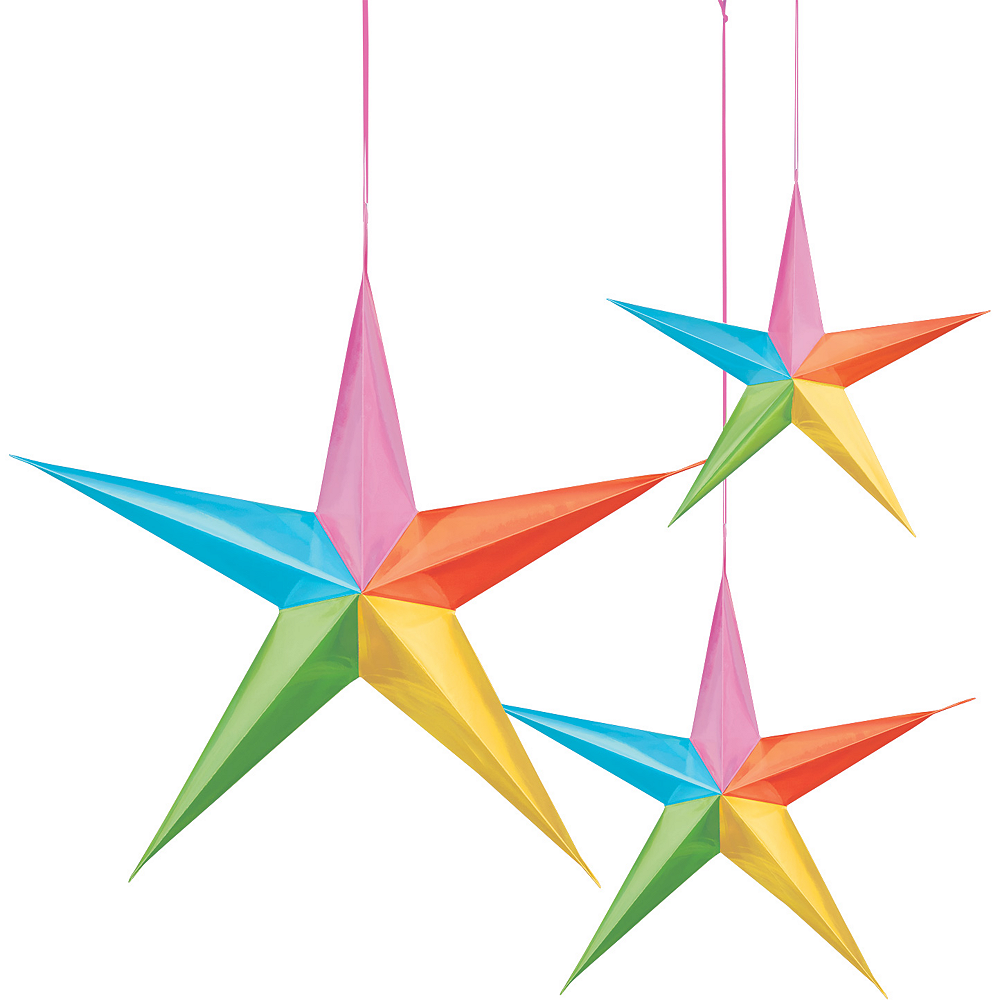 3D Multi-Colored Star Decorations 3ct Image #1