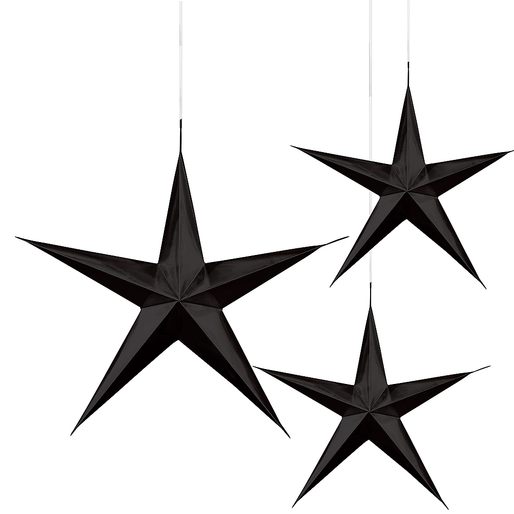 Nav Item for 3D Black Star Decorations 3ct Image #1